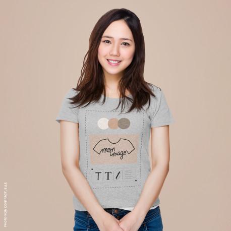 T-Shirt femme personnalisé - gris chiné